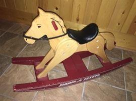 Vintage Radio Flyer rocking horse solid wood