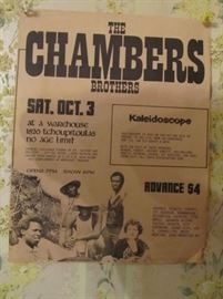 Original Sat. Oct. 3 1970 Paper Broadside The Warehouse New Orleans. The Chambers Brothers. The Warehouse opened Jan 30, 1970.