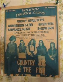 Original Friday April 17th, 1970 Paper Broadside Country Joe & The Fish,  2 1/2 months after The Warehouse opened Jan 30, 1970. They Played in the same week with Joe Cocker.