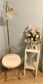 Vanity Seat, Gooseneck Standing Lamp, Small Shelving Unit