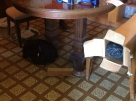 round or oval (extended) pedestal dining table (2 leaves) 6 cane back chairs excellent condition