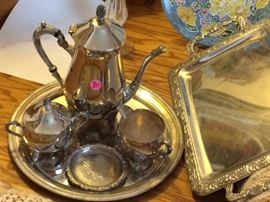 Silver plate tea set, excellent condition, will be donated if not sold today