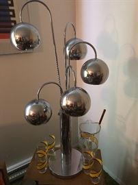 Castiglioni / Sonneman / Milo Baughman style circa 1970 chrome waterfall table lamp.