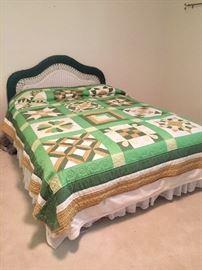 Wicker headboard double bed