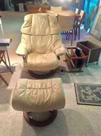 HOUSE OF DENMARD 1960's leather chair with foot stool Teak base PAIR