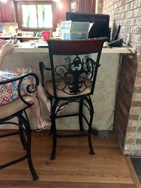 Beautiful pair of wood and iron counter stools