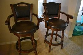 Leather nailhead trim swivel barstools - set of 2.