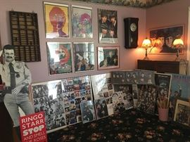Numerous Beatles posters. They were big fans of Ringo Starr so there are a few additional collectibles of him. Love the  psychedelic Beatles items & the life size cardboard Ringo.