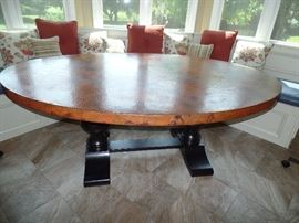 """Beautiful copper top table - only 2 years old - 76"""" X 52"""""""