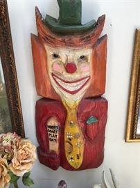 Homey the Clown Wooden Wall-Hung Sculpture