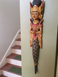 Asian Art- Carved Mermaid Wall-Hung Sculpture