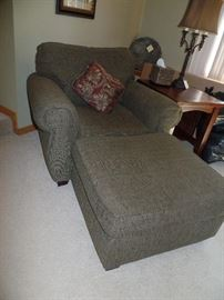 Oversized upholster chair and ottoman  - also has matching sectional sofa and ottoman