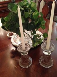 Silver plate tray; pair of candle holders