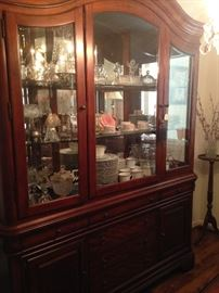 Extra large china cabinet provides great storage and display areas.