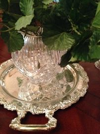 Silver plate tray and rose bowl