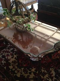 Antique coffee table with custom glass