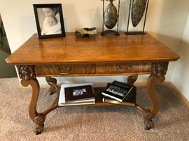 Antique Victorian Carved Oak Writing Desk Library Table Lions Head Feet