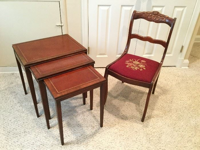Nesting Table Trio and Chair           http://www.ctonlineauctions.com/detail.asp?id=736282
