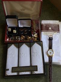 Cufflink Assortment w/ Watch, Handkerchiefs  http://www.ctonlineauctions.com/detail.asp?id=736291