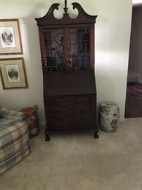 Mahogany secretary, asian stools
