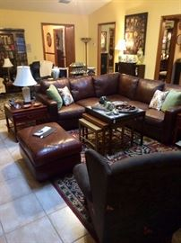 Thomasville Leather Sectional in Pristine Condition! I don't say this often, but let me stress...YOU WILL NEVER, EVER FIND A DEAL THIS AMAZING AGAIN.
