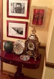 Original Photography, Modern Mixed Media, Duncan Phyfe style card table, pottery, Rose Medallion, crystal, Indian Tree and a very impressive from a distance reproduction clock...this sale has I little something for us all!