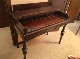 vintage writing desk, dark wood