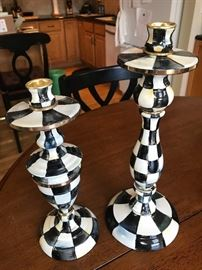 MacKenzie Childs courtly check candlesticks