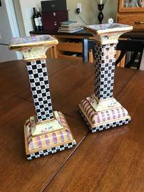 MacKenzie Childs torquay frank mustard candlesticks