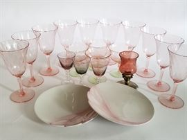Colored Glass Stemware and Vintage Goebel   http://www.ctonlineauctions.com/detail.asp?id=737109