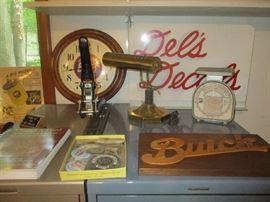 Automobile memorabilia, lamp and scales