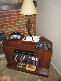 TV CABINET, VHS, LAMP
