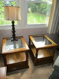 2 MATCHING END TABLES, LAMP