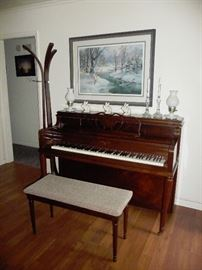 neat hall tree / piano / art