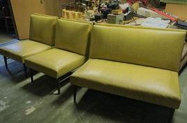 vintage 3 pc vinyl  sofa & chairs