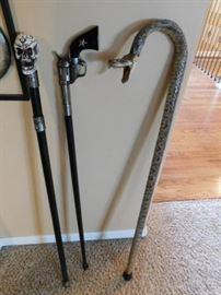 Decorative walking sticks, Real rattlesnake walking stick.