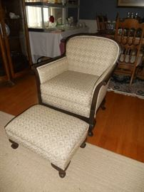 Antique side chair with ottoman