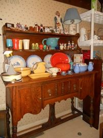 Oak buffet and Vintage Fiesta