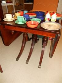 Drop leaf mahogany table with more Fiesta