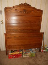 High back oak full size bed