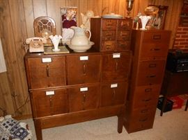 Rare 6 drawer oak file cabinet, 6 drawer oak index card cabinet and 4 drawer oak file cabinet