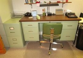 Vintage light green metal desk, 2 drawer file cabinet, misc. office supplies
