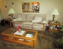 Sofa w/ reclining ends, vintage lamps, mirrored wall decor, matching coffee table and 2 end tables