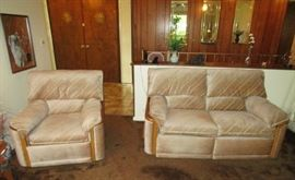 Matching reclining love seat and chair