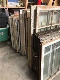 Old wood windows, many styles.