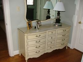 French dresser with mirror. Matching tall chest of drawers.