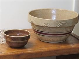 Roseville and other pottery bowls