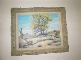 Jerry Pond Arizona Artist Oil Painting Palo Verde Tree (Signed)