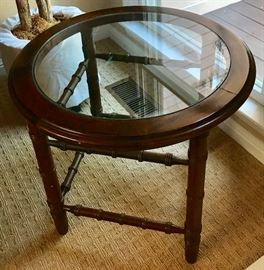 Spindle Accent / Faux Bamboo Glass Top End Table