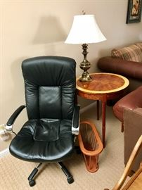 Lovely Fruitwood Inlaid Occasional / End Table, Wood Magazine Holder, Office Chair, Brass Lamp